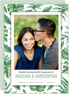 Tropical Watercolor Leaves Engagement Announcement