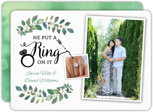Fun Greenery Photo Engagement Announcement