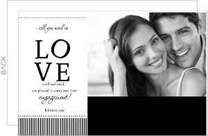 Black and White Stripes Love Engagement Announcement