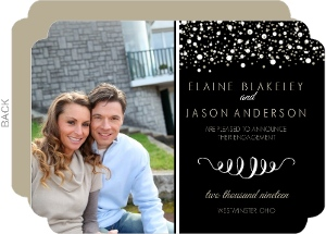 Black with White and Gold Dots Photo Engagement Announcement