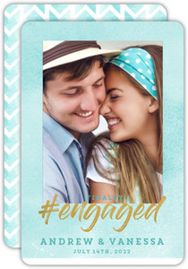 Aqua Watercolor Chevron Engagement Announcement