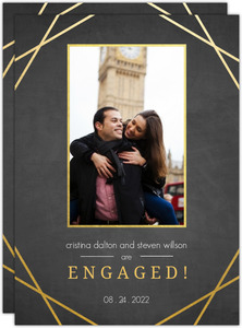 Charcoal and Faux Gold Sophisticated Frame Engagement Announcement