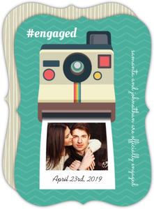 Vintage Camera Engagement Photo Announcement