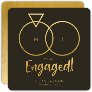 Couple Rings Engagement Announcement