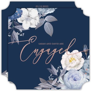 Navy Floral Arrangement Engagement Announcement