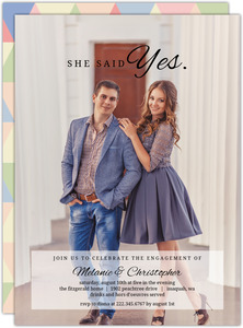 She Said Yes Engagement Photo Party Invitation