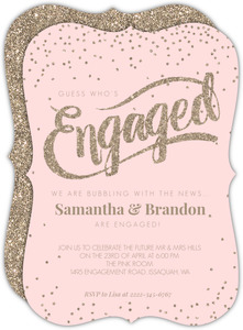 Soft Faux Pink Glitter Engagement Party Invitation