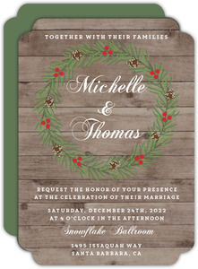 Rustic Woodgrain Wreath Wedding Invitation