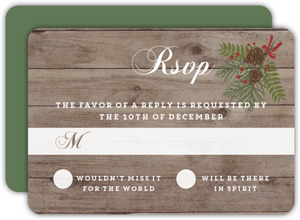Rustic Woodgrain Wreath Wedding Response Card