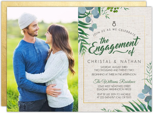 Rustic Greenery Engagement Party Invitation