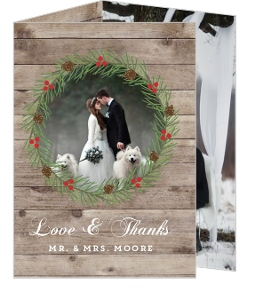 Rustic Woodgrain Wreath Wedding Thank You Card