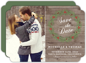 Rustic Woodgrain Wreath Save The Date Card