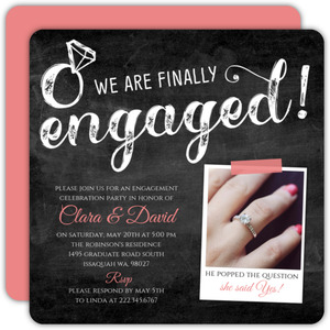 Pink Chalkboard Typography Engagement Party Invitation