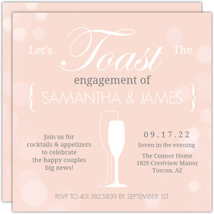 Peach Toasting Bubbles Engagement Party Invite