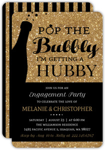Faux Gold Glitter Pop the Bubbly Engagement Party Invitation