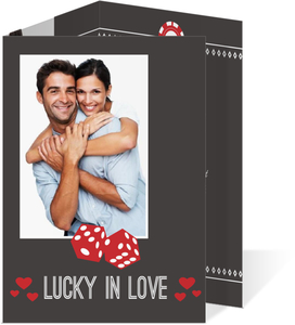 Lucky Love Red Dice  Engagement Party Invite