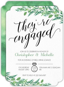 Gorgeous Greenery Engagement Party Invitation