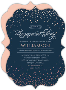 Rose Gold Confetti Engagement Party Invitation
