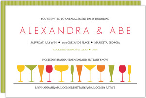 Modern Colorful Glasses Engagement Party Invites