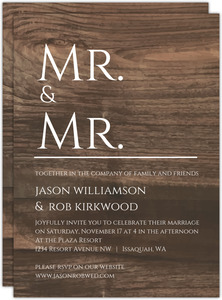 Modern Woodgrain Gay Wedding Invitation