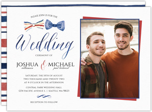 Stripped Watercolor Bow Tie Wedding Invitation
