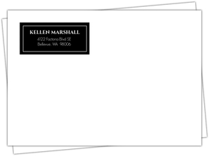 Elegant Black Monogram  Graduation Envelope