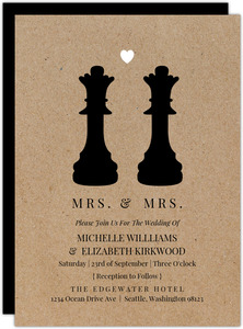 Queen Chess Pieces Gay Wedding Invitation