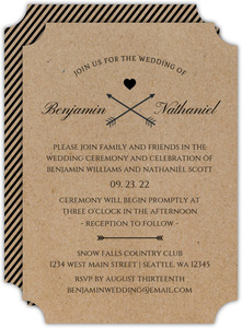 Kraft Paper And Black Stripes Gay Wedding Invitation