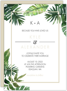 Tropical Green Leaves Gay Wedding Invitation