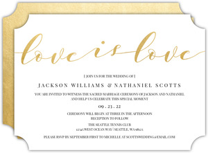 Love Is Love Faux Foil Wedding Invitation