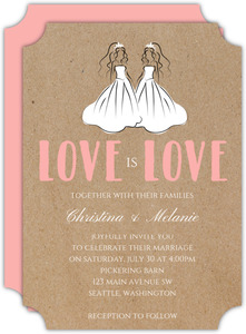 Pink Bride Duo Wedding Invitation