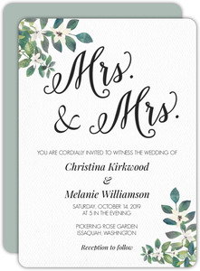 Corner Decorative Greenery Gay Wedding Invitation