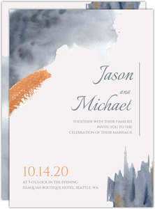 Modern Grey Watercolor Gay Wedding Invitation
