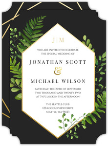 Ferns And Faux Foil Wedding Invitation