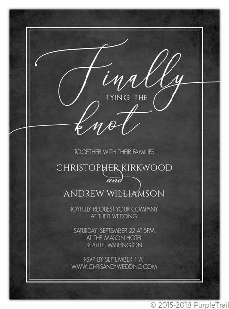 finally tying the knot gay wedding invitation
