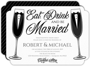 Elegant Black Tie Glass Gay Wedding Invitation