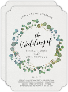 Green Watercolor Wreath Gay Wedding Invitation