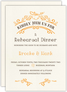 Rustic Pumpkin Rehearsal Dinner Invitation