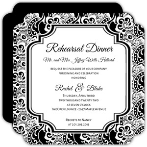 Black and White Lace  Rehearsal Dinner