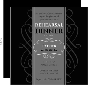 Black and Gray Formal Rehearsal Dinner Invite