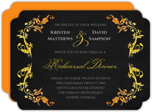 Watercolor Halloween Rehearsal Dinner Invitation
