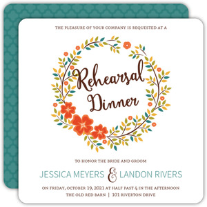 Autumn Foliage Wreath Rehearsal Dinner Invitation