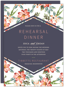 Delicate Watercolor Floral Rehearsal Dinner Invitation