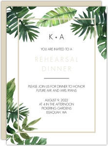 Tropical Green Leaves Rehearsal Dinner