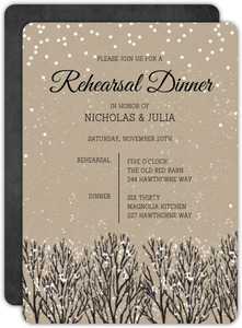 Rustic Krafty Winter Rehearsal Dinner Invitation