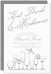 Elegant Gray Drinks Rehearsal Dinner Invitation