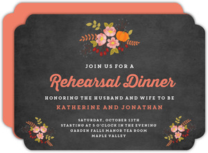 Autumn Floral Rehearsal Dinner Invitation