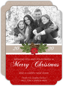 Red Pattern Gift Holiday Photo Card