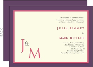 Plum Raspberry Monogram Rehearsal Dinner Invitation
