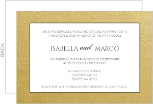 Gold Metallic Antique Style Rehearsal Dinner Invite